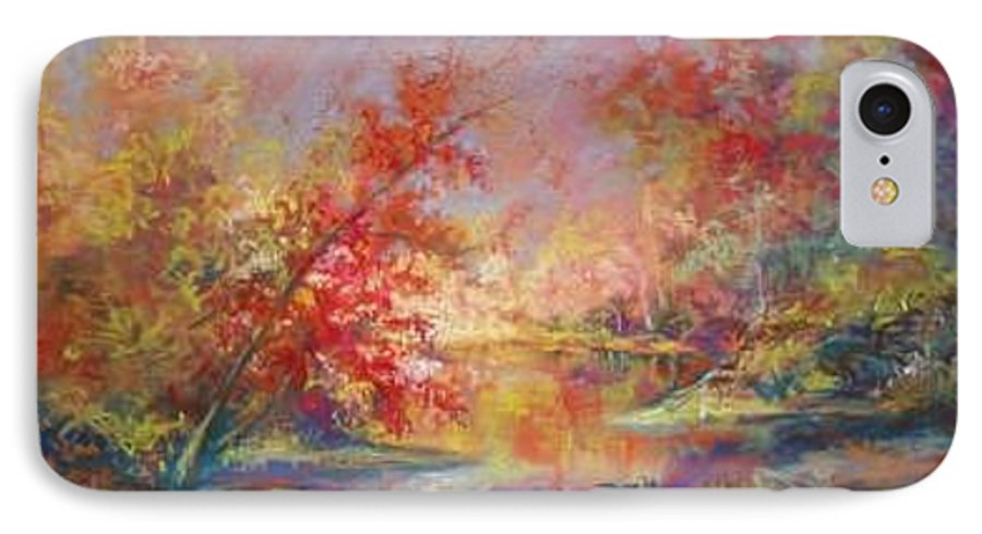 Landscape In Autumn IPhone 7 Case featuring the painting Saline River View by Marlene Gremillion