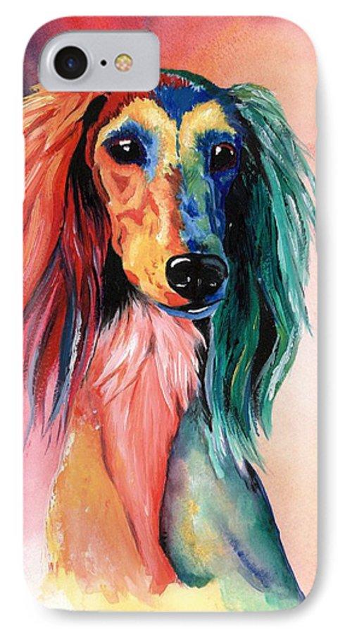 Saluki IPhone 7 Case featuring the painting Saluki Sunset by Kathleen Sepulveda