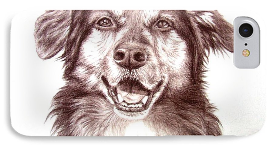Dog IPhone 7 Case featuring the drawing Sam by Nicole Zeug