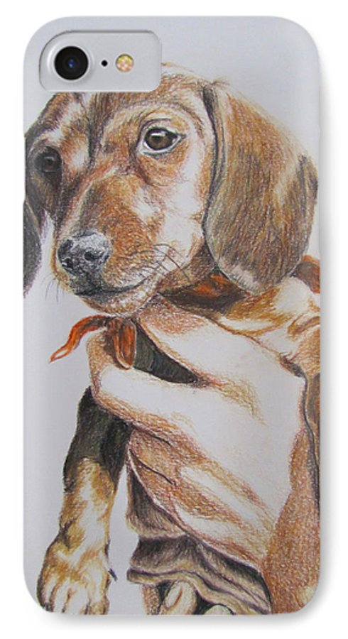 Puppy IPhone 7 Case featuring the drawing Sambo by Karen Ilari
