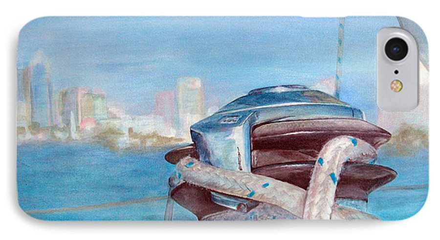 Landscape IPhone 7 Case featuring the painting San Diego by Muriel Dolemieux