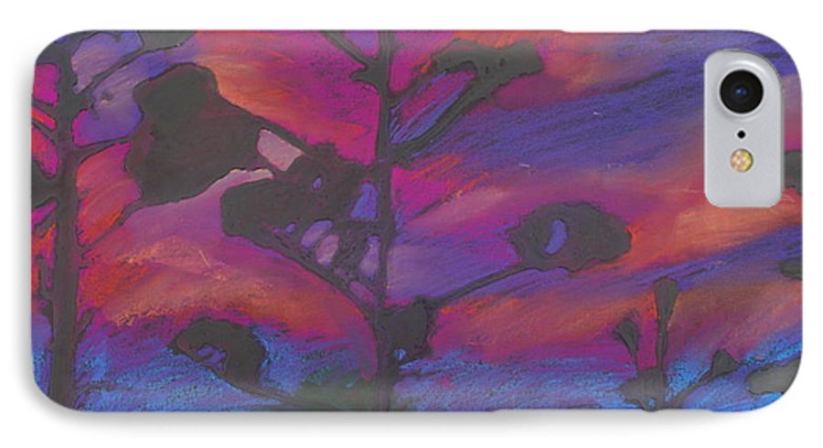 Contemporary Tree Landscape IPhone 7 Case featuring the mixed media San Diego Sunset by Leah Tomaino