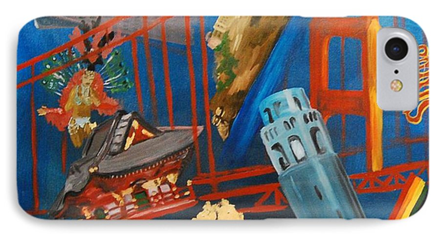 Golden Gate Bridge IPhone 7 Case featuring the painting San Fran by Lauren Luna