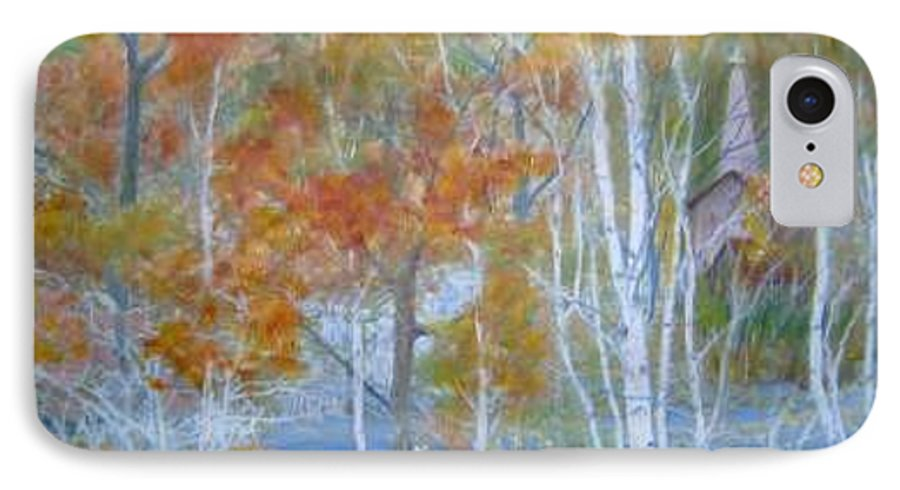 Church; Landscape; Birch Trees IPhone 7 Case featuring the painting Sanctuary by Ben Kiger