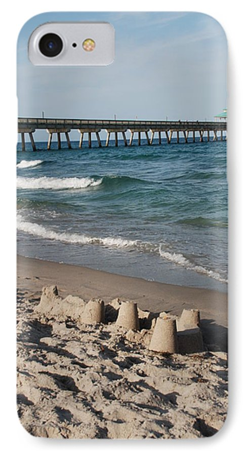 Sea Scape IPhone 7 Case featuring the photograph Sand Castles And Piers by Rob Hans
