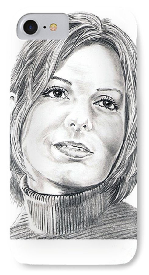 Drawing IPhone 7 Case featuring the drawing Sandra Bullock by Murphy Elliott