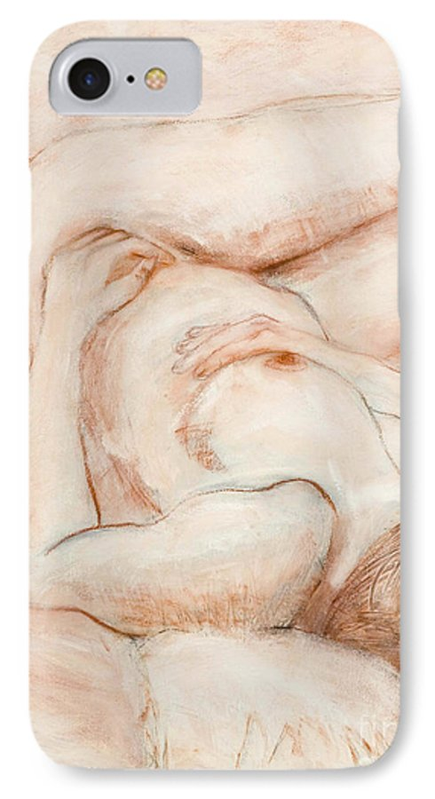 Female IPhone 7 Case featuring the drawing Sanguine Nude by Kerryn Madsen-Pietsch
