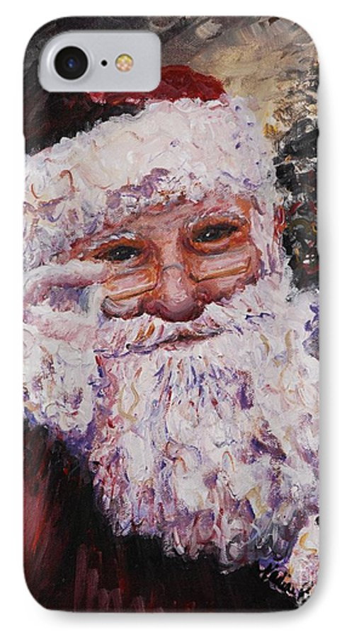 Santa IPhone 7 Case featuring the painting Santa Chat by Nadine Rippelmeyer
