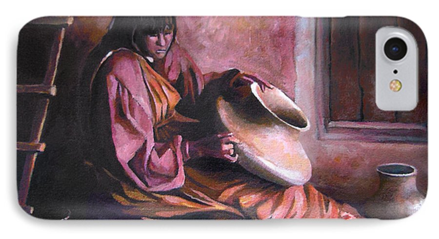 Native American IPhone 7 Case featuring the painting Santa Clara Potter by Nancy Griswold