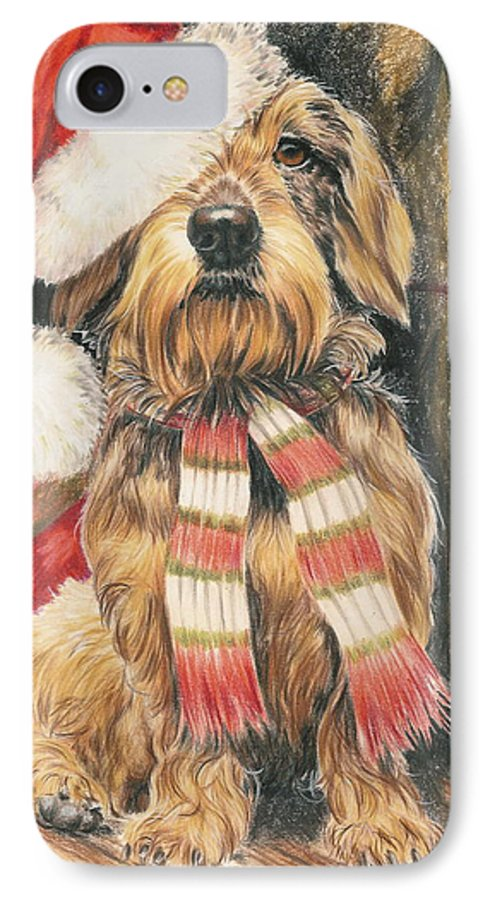 Dogs IPhone 7 Case featuring the drawing Santas Little Yelper by Barbara Keith