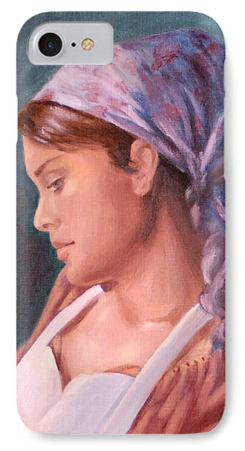 Maid IPhone 7 Case featuring the painting Sarah The Kitchen Maid After Johnnie Liliedahl by Quwatha Valentine