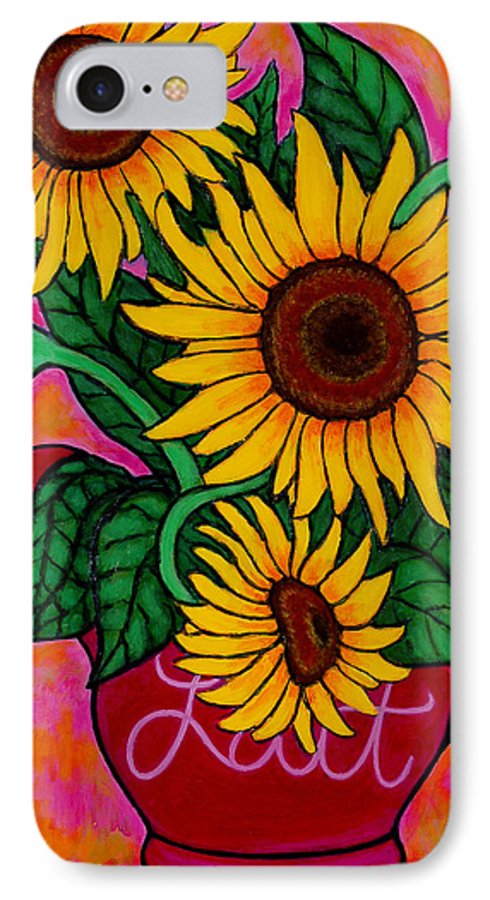 Sunflowers IPhone 7 Case featuring the painting Saturday Morning Sunflowers by Lisa Lorenz