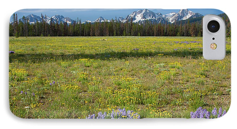 Wildflowers IPhone 7 Case featuring the photograph Sawtooths And Wildflowers by Idaho Scenic Images Linda Lantzy