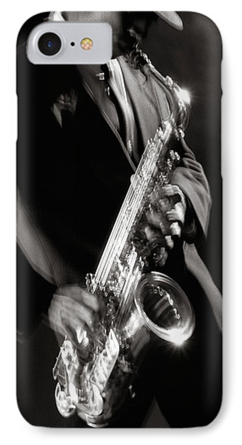 Sax IPhone 7 Case featuring the photograph Sax Man 1 by Tony Cordoza