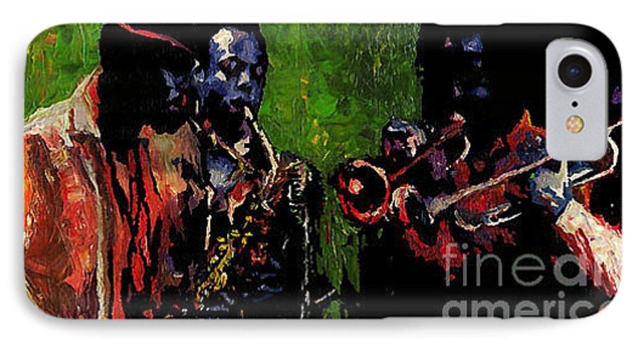 Jazz IPhone 7 Case featuring the painting Saxophon Players. by Yuriy Shevchuk