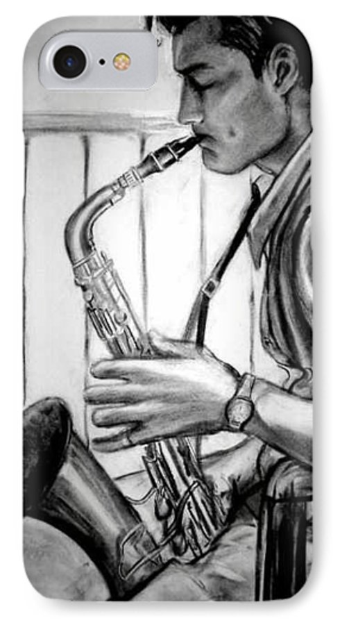 Handsome Man IPhone 7 Case featuring the drawing Saxophone Player by Laura Rispoli