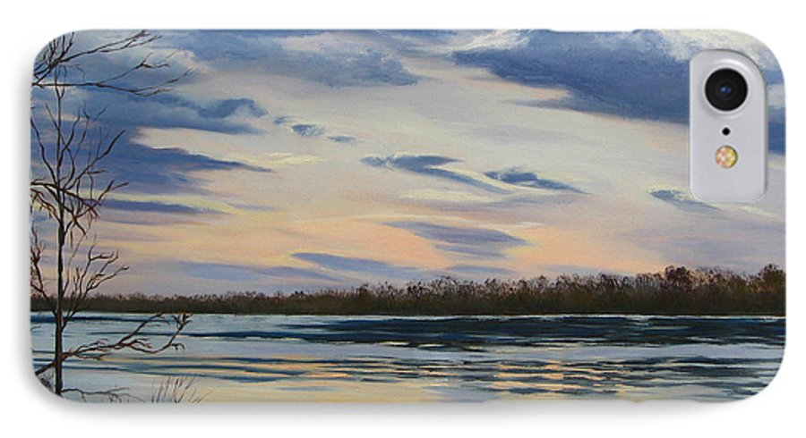 Clouds IPhone 7 Case featuring the painting Scenic Overlook - Delaware River by Lea Novak