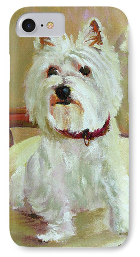 Pet IPhone 7 Case featuring the painting Schatzie by Keith Burgess