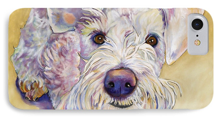 Schnauzer IPhone 7 Case featuring the pastel Scooter by Pat Saunders-White