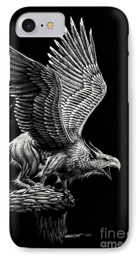 Griffon IPhone 7 Case featuring the drawing Screaming Griffon by Stanley Morrison