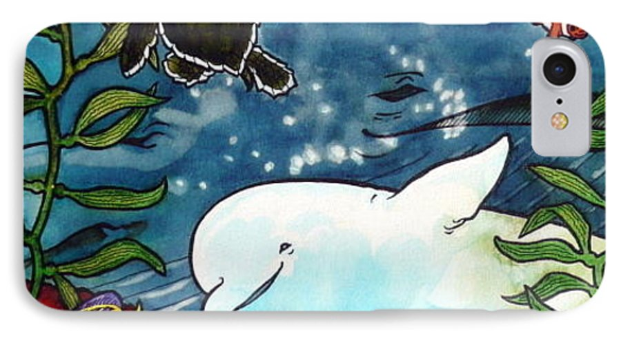 Whale IPhone 7 Case featuring the painting Sea Fun by Jill Iversen