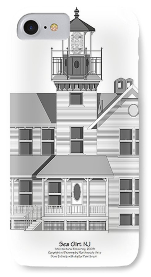 Lighthouse IPhone 7 Case featuring the painting Sea Girt New Jersey Architectural Drawing by Anne Norskog