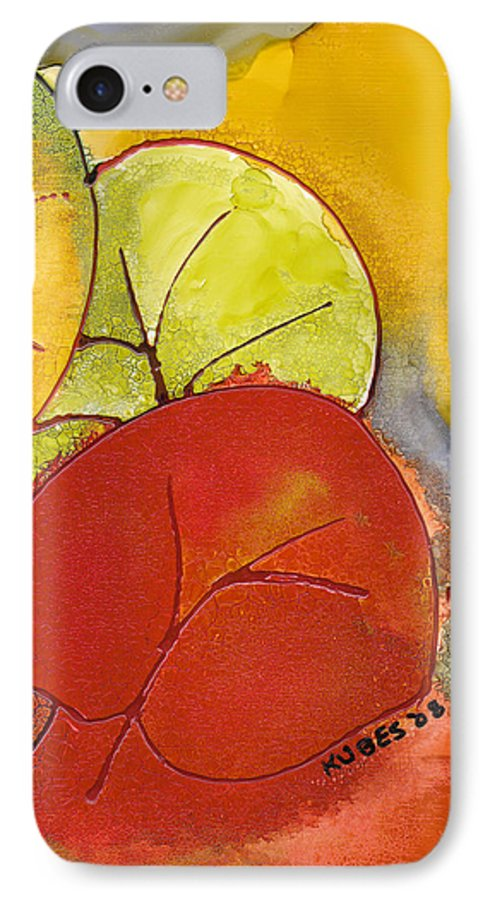 Leaf IPhone 7 Case featuring the painting Sea Grapes by Susan Kubes