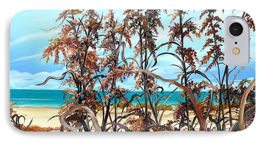 Ocean Painting Sea Oats Painting Beach Painting Seascape Painting Beach Painting Florida Painting Greeting Card Painting IPhone 7 Case featuring the painting Sea Oats by Karin Dawn Kelshall- Best