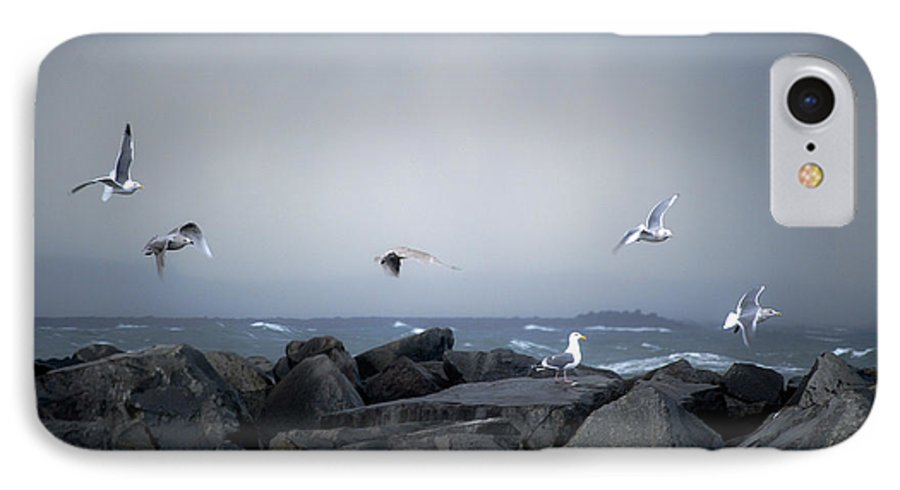 Landscape IPhone 7 Case featuring the photograph Seagulls In Flight by Larry Keahey