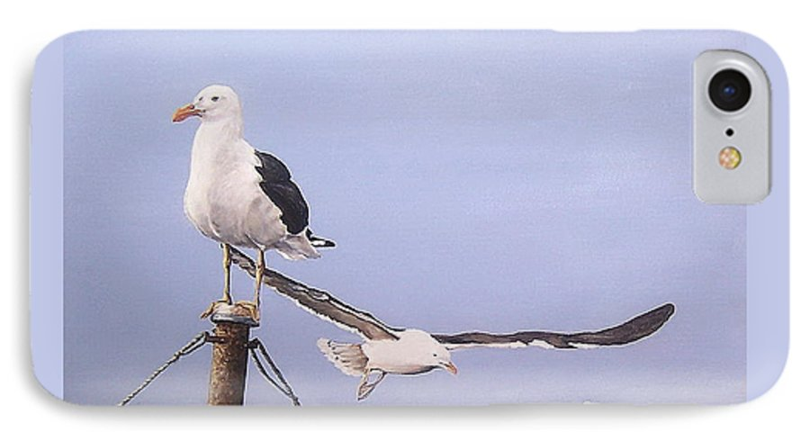 Seascape Gulls Bird Sea IPhone 7 Case featuring the painting Seagulls by Natalia Tejera