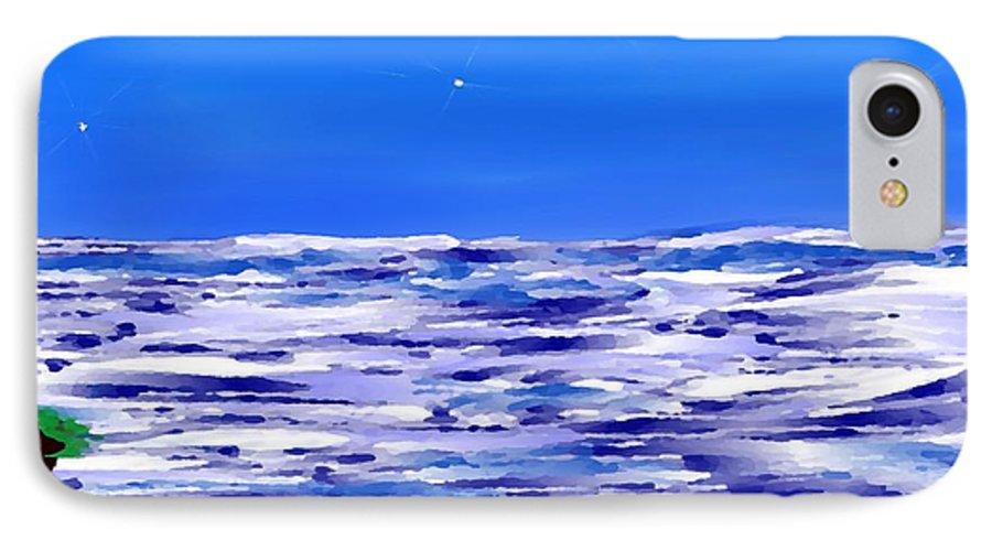 Sea.evening.night.silence.water.waves.deep Water.quiet .coast.sky.stars.calm.no Wind IPhone 7 Case featuring the digital art Sea.moon Light by Dr Loifer Vladimir