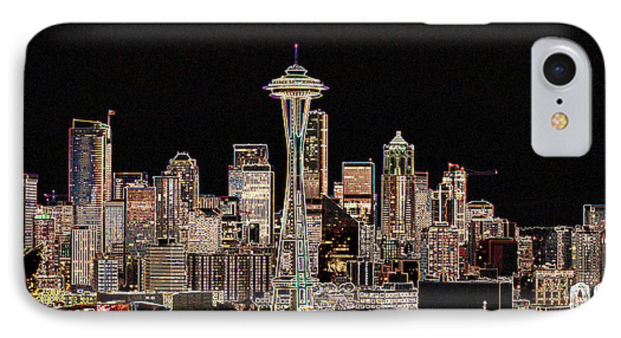 Colorful IPhone 7 Case featuring the photograph Seattle A Glow by Larry Keahey