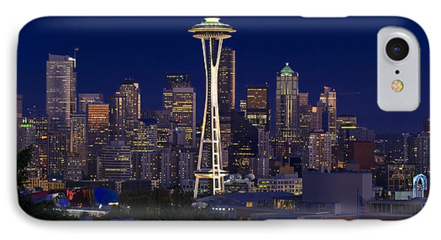 Seattle IPhone 7 Case featuring the photograph Seattle At Night by Larry Keahey