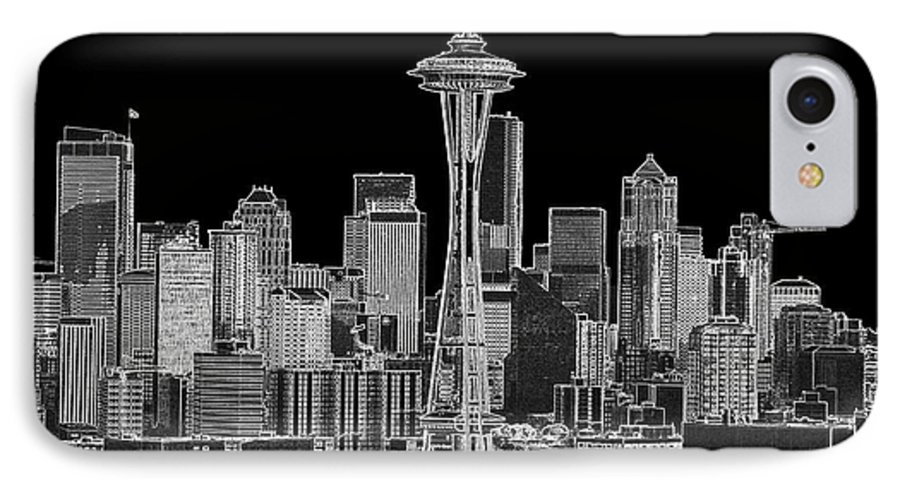 Black And White IPhone 7 Case featuring the photograph Seattle Black And White by Larry Keahey