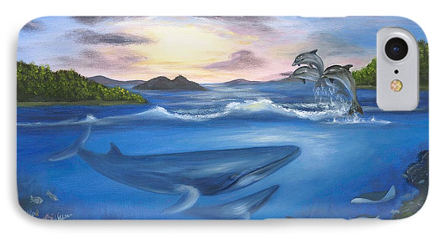 Landscape IPhone 7 Case featuring the painting Seaworld by Anne Kushnick