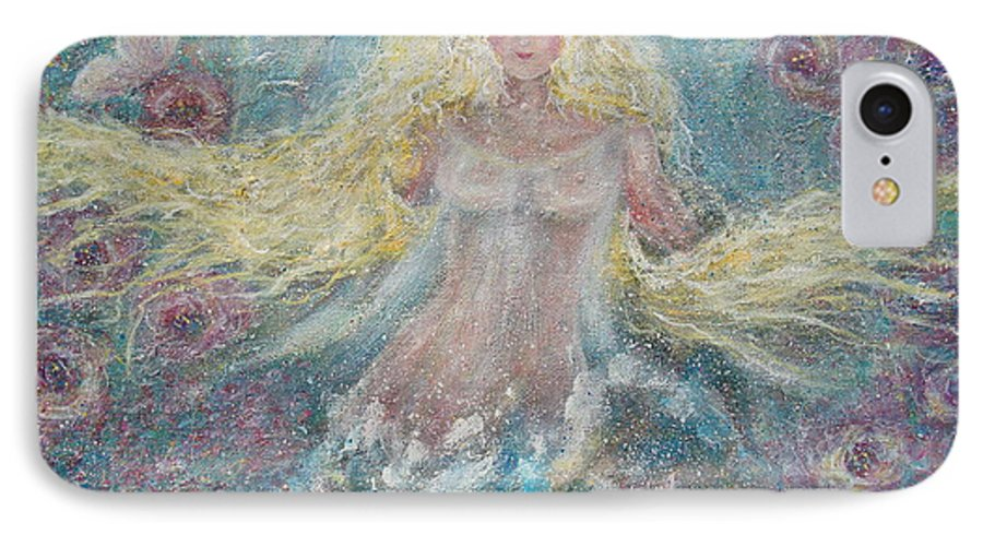 Angel IPhone 7 Case featuring the painting Secret Garden Angel 3 by Natalie Holland