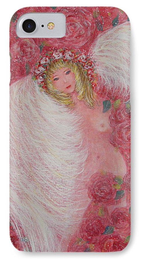 Angel IPhone 7 Case featuring the painting Secret Garden Angel 6 by Natalie Holland