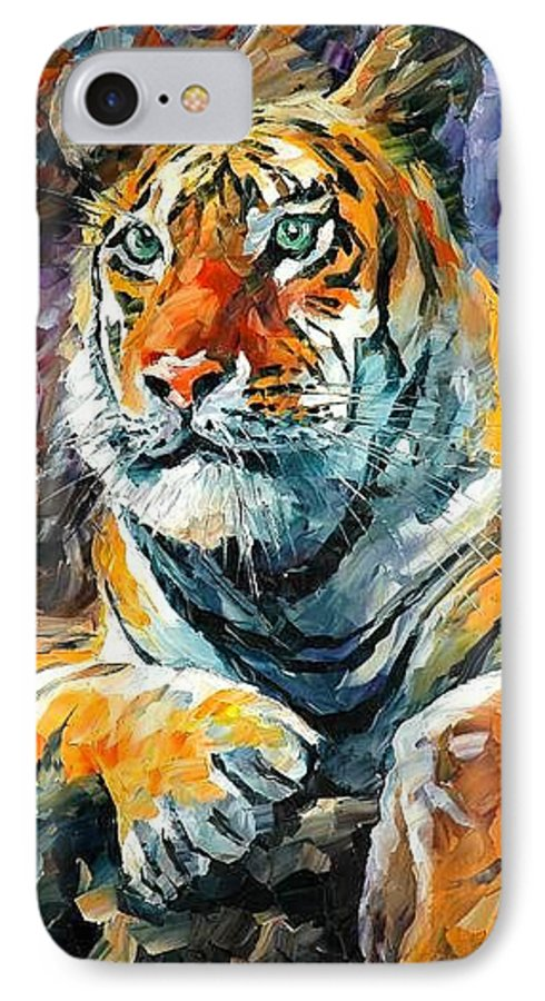 Painting IPhone 7 Case featuring the painting Seibirian Tiger by Leonid Afremov