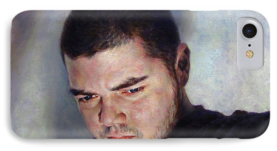 Self IPhone 7 Case featuring the painting Self Portrait W Shadows by Joe Velez