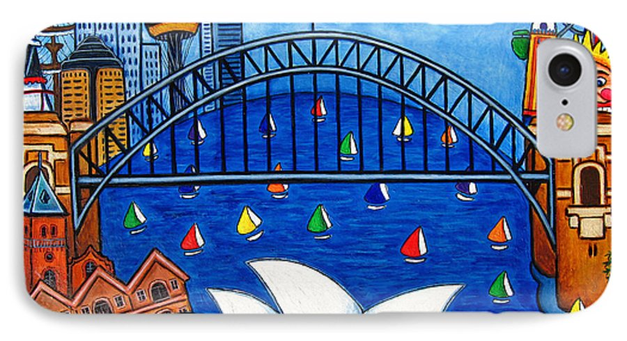 House IPhone 7 Case featuring the painting Sensational Sydney by Lisa Lorenz