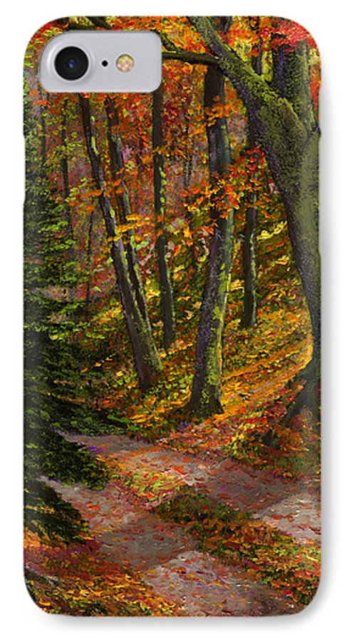 Road In The Woods IPhone 7 Case featuring the painting September Road by Frank Wilson