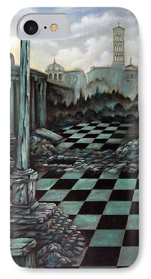 Surreal IPhone 7 Case featuring the painting Sepulchre by Valerie Vescovi