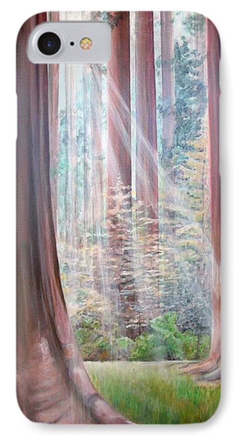Landscape IPhone 7 Case featuring the painting Sequoia by Muriel Dolemieux