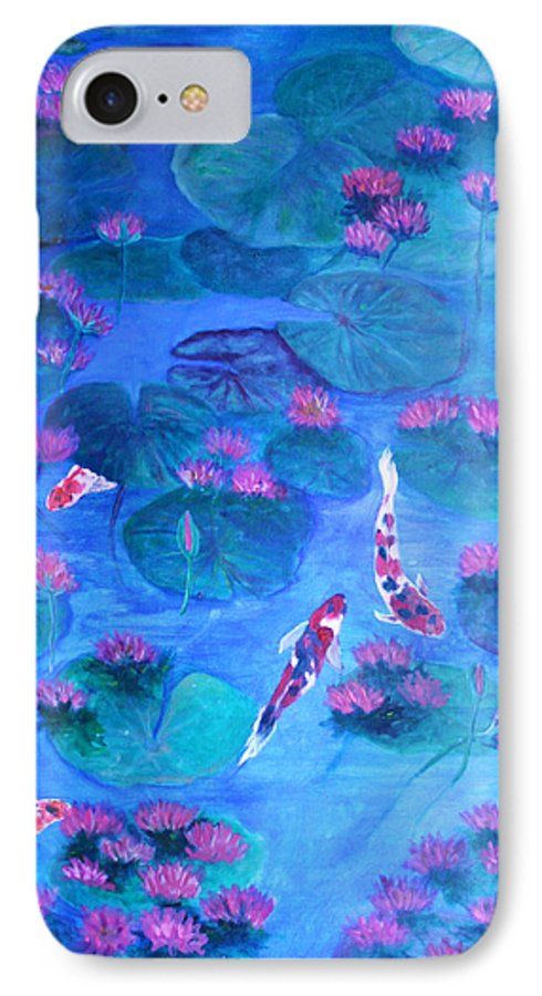 Lily Pads IPhone 7 Case featuring the painting Serene Pond by Ben Kiger