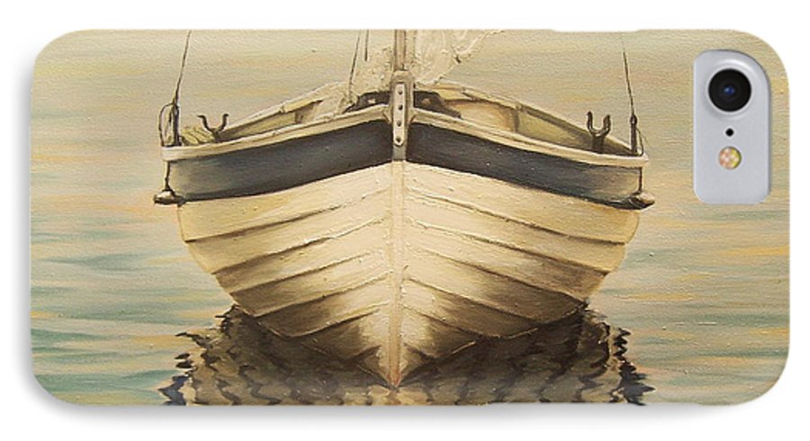 Seascape IPhone 7 Case featuring the painting Serenity by Natalia Tejera