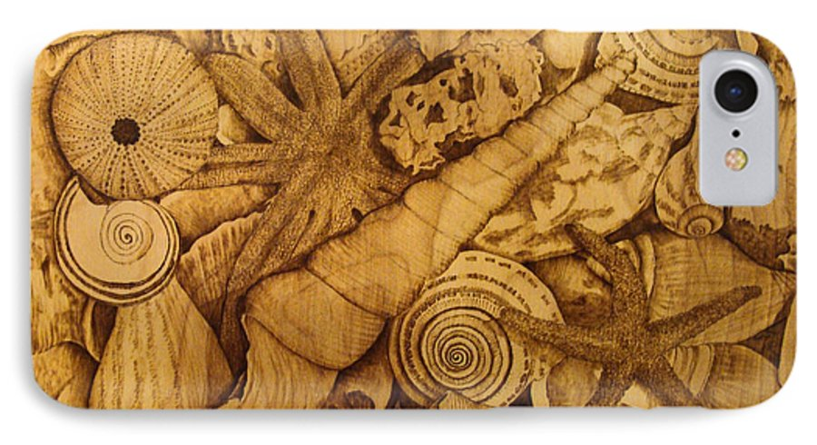 Pyrography; Sepia; Shells; Sea Shells; Starfish; Ocean; Sea; Underwater; Sea Life; IPhone 7 Case featuring the pyrography Settled by Jo Schwartz