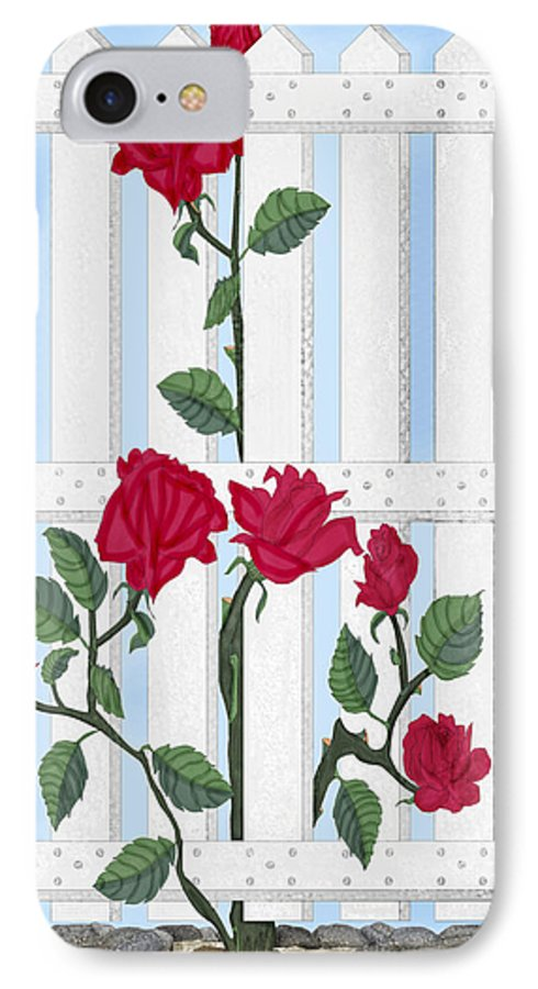 Roses IPhone 7 Case featuring the painting Seven Roses For Mary by Anne Norskog