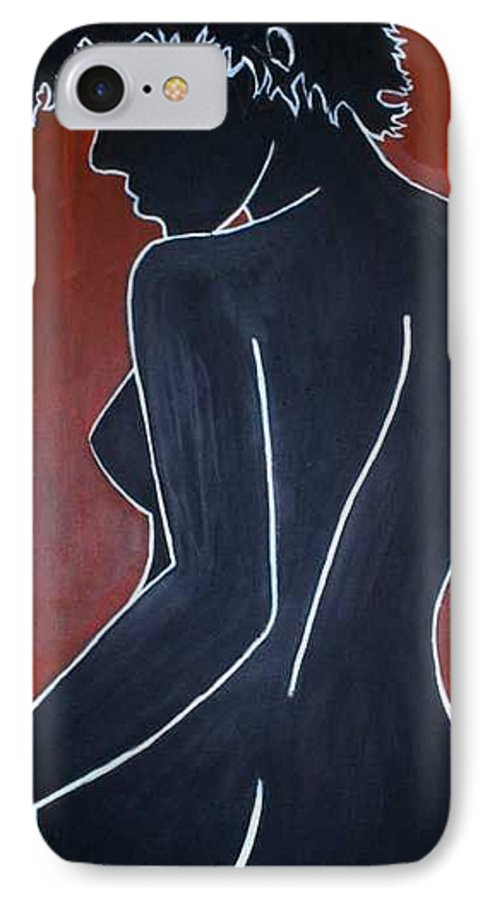 Nude IPhone 7 Case featuring the painting Shadow by Thomas Valentine