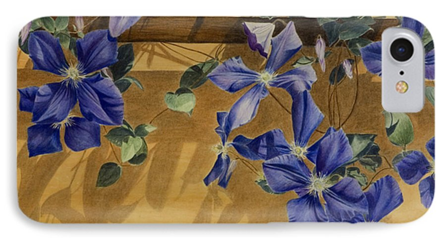 Clematis IPhone 7 Case featuring the painting Shadows Dancing by Nik Helbig