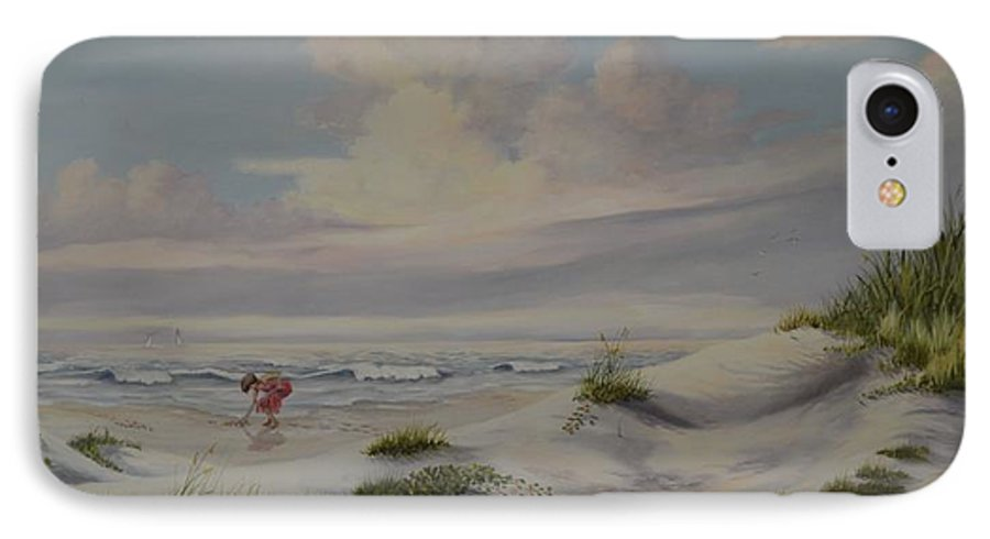 Landscape IPhone 7 Case featuring the painting Shadows In The Sand Dunes by Wanda Dansereau